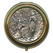 Lourdes Metal Gold Plated Pyx with Pewter Picture mm.50- 2""