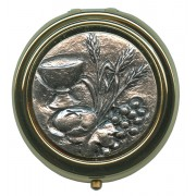 Communion Metal Gold Plated Pyx with Pewter Picture mm.50- 2""