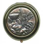Communion Metal Gold Plated Pyx with Pewter Picture mm.60- 2 1/2""