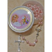 High Quality Imitation Pearl Rosary Simple Link 5mm and Chalice Pink with Communion Rosary Box