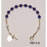 Gold Plated Rosary Bracelet Cobalt