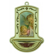 "Guardian Angel with Baby White Water Font cm.9x13 - 3 1/2""x5"""