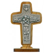 "Good Shepherd/ Pope Francis Crucifix with Base Olive Wood cm.8.5x 5.6 - 3 1/2""x 2 1/4"""