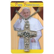 Good Shepherd/ Pope Francis Olive Wood and Oxidized Crucifix with Chain cm.4- 1 1/2""