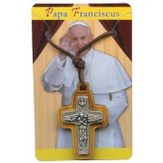 "Good Shepherd/ Pope Francis Crucifix with Cord cm.3x2 - 1 1/4""x 3/4"""