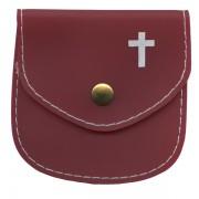 "Rosary Pouch Burgundy cm.8x8 - 3 1/4"" x 3 1/4"""