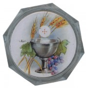 "Chalice Clear Octagon Rosary Box cm.5.4x 2 1/8"""