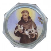 "St.Francis Clear Octagon Rosary Box cm.5.4x 2 1/8"""