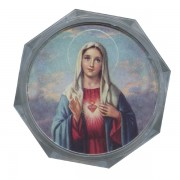 Immaculate Heart of Mary Clear Octagon Rosary Box cm.5.4x 2 1/8""