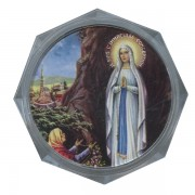 "Lourdes Clear Octagon Rosary Box cm.5.4x 2 1/8"""