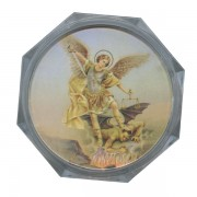 St.Michael Clear Octagon Rosary Box cm.5.4x 2 1/8""