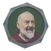 Padre Pio Clear Octagon Rosary Box cm.5.4x 2 1/8""