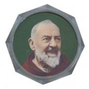 "Padre Pio Clear Octagon Rosary Box cm.5.4x 2 1/8"""