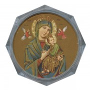 """Perpetual Help Clear Octagon Rosary Box cm.5.4x 2 1/8"""""""