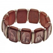 Brown Multi-Saints Wood and Metal Elastic Bracelet Black and White Pictures