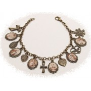 Multi-Saints Bronzed Metal Bracelet Sepia Pictures