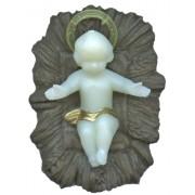 "Brown Plastic Crib with Luminous Baby Jesus cm.5.5 - 2"""