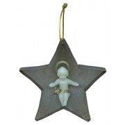 Brown Plastic Star with Luminous Baby Jesus cm.8.5- 3 1/4""