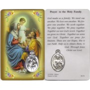 "Holy Family Prayer Card with Medal cm.8.5 x 5 - 3 1/4"" x 2"""
