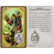 "St.Michael Prayer Card with Medal cm.8.5 x 5 - 3 1/4"" x 2"""