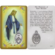 "Memorare of St.Bernard Prayer Card with Medal cm.8.5 x 5 - 3 1/4"" x 2"""