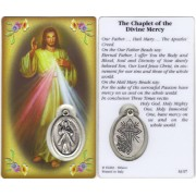 "Chaplet of Divine Mercy Prayer Card with Medal cm.8.5 x 5 - 3 1/4"" x 2"""