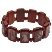 Brown Multi-Saints Wood Elastic Bracelet Sepia Pictures