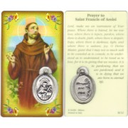 "Prayer to/ St.Francis Prayer Card with Medal cm.8.5 x 5 - 3 1/4"" x 2"""
