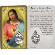 "Prayer to/ Sacred Heart of Jesus Prayer Card with Medal cm.8.5 x 5 - 3 1/4"" x 2"""