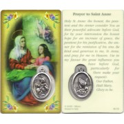 "Prayer to/ St.Anne Prayer Card with Medal cm.8.5 x 5 - 3 1/4"" x 2"""
