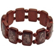 Mother and Child Wood Elastic Brown Bracelet Sepia Pictures