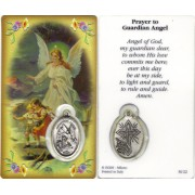 "Prayer to/ Guardian Angel Prayer Card with Medal cm.8.5 x 5 - 3 1/4"" x 2"""