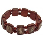 Small Fit Brown Multi-Saints Wood Elastic Bracelet Sepia Pictures