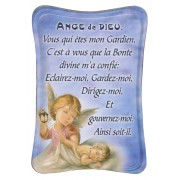 "Guardian Angel Mini Standing Plaque French cm.7x10 - 3""x4"""