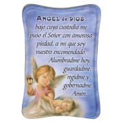"Guardian Angel Mini Standing Plaque Spanish cm.7x10 - 3""x4"""