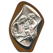 "Holy Family Silver Laminated Plaque cm.17x23 - 6 3/4"" x 9"""