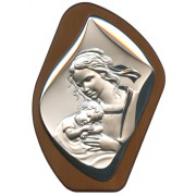 "Mother and Child Silver Laminated Plaque cm.17x23 - 6 3/4"" x 9"""
