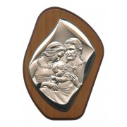 "Holy Family Silver Laminated Plaque cm.11x14.5 - 4 1/4""x 5 1/2"""