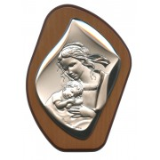 "Mother and Child Silver Laminated Plaque cm.11x14.5 - 4 1/4""x 5 1/2"""
