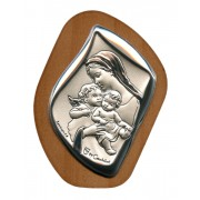 "Mother and Child with Guardian Angel Silver Laminated Plaque cm.6.5x5 - 2 1/2""x2"""