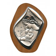 "Mother and Child Silver Laminated Plaque cm.6.5x5 - 2 1/2""x2"""