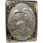 "Holy Family Silver Laminated Plaque cm.25x33- 10""x13"""