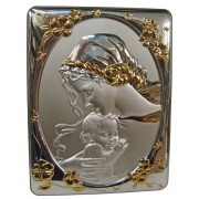 "Mother and Child Silver Laminated Plaque cm.25x33- 10""x13"""