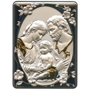 "Holy Family Silver Laminated Plaque cm.16.5x21.5- 6 1/2""x 8 1/2"""