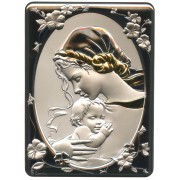 "Mother and Child Silver Laminated Plaque cm.16.5x21.5- 6 1/2""x 8 1/2"""