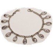 Multi-Saints SIlver Plated Metal Bracelet Black and White Pictures