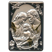 "Holy Family Silver Laminated Plaque cm.10x14 - 4""x 5 1/2"""
