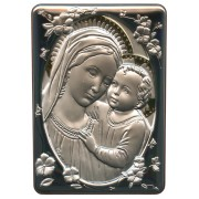 "Mother and Child Silver Laminated Plaque cm.10x14 - 4""x 5 1/2"""