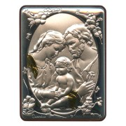 "Holy Family Silver Laminated Plaque cm.5x6.5 - 2""x2 1/2"""