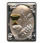 "Communion Silver Laminated Plaque cm.5x6.5 - 2""x2 1/2"""